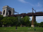 CSX 8850 and 8832 lead the mixed freight over the Hell Gate Bridge