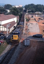 CSX in C'ville next to Trax and new bridge construction