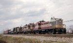 CP freight with 8436, 8452 and B&M leaser 1535 departing St. Luc yard