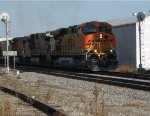 BNSF 7789 leads a freight out of the siding in Old Monroe Mo.