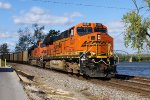 BNSF 6337 takes a coal load south  bound down the river.
