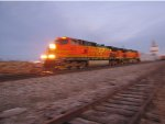 BNSF 5027 leads the local out of old monroe bad pic.