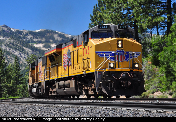 UP stack train climbs westbound out of Coldstream Canyon, 5 miles west of Truckee, CA