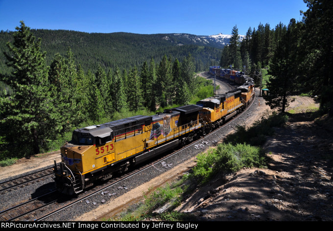 Stack train at Andover, about 5 miles west of Truckee.