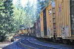 UP 8775 leads eastbound train through Alta, CA toward Donner Pass