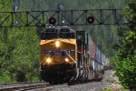 Close up-Westbound UP stacktrain at the back of Coldstream Canyon,about 5 miles west of Truckee, CA