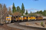 UP 5460 leads quintet of UP motive power just east of Colfax, CA..  Engines are drifting downgrade after crossing Donner Pass
