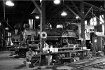 Inside roundhouse at Railtown 1897 SHP at Jamestown, CA.  B & W photo converted from color photo