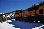 UP Stack train eastbound at Yuba Pass, taken after light snowfall