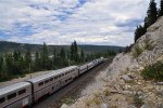 Eastbound Cal Zephyr at MP197 above Donner Lake, CA