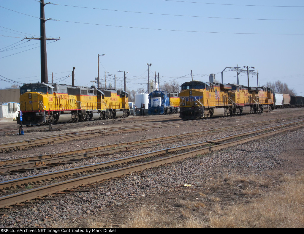 Union Pacific AC45CTE No. 7352, AC44CW No. 6840, and AC44CW 6516 look ready for the road at the Salina, Kansas yard