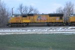 Union Pacific SD70Ms 4943 and 4036 prepare for departure eastbound near the lead to the east end of the yard
