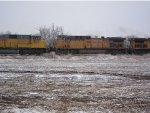 Union Pacific no. 5758 with SD9043MAC no. 8123 on a train moving through the Wilson, Kansas area.