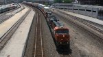 BNSF 7480 Leads a stack train though Kansas City