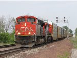 CN 8932 & 2196 roll M393 west at track speed