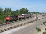CN 2334 & BCOL 4616 lead M393 westward around Torrey Yard