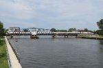 P371 rolls west over the St Joseph River swing bridge
