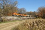 BNSF 5776 coasts down Saugatuck Hill leading E949-19