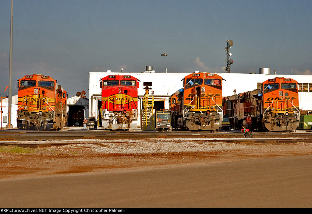 BNSF 5445, 517, 6342, and 5929