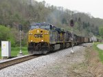 CSX 525 leads N211-29 through the signals just outside of town