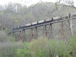 CSX 7376 & 109 roll northward over Copper Creek trestle with U321-29