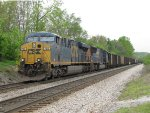 CSX 768 & 4726 sit with loaded coal train W340 as the crew ties it down just north of town