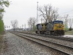 CSX 124 & 7596 wait north of the stone pits for a loaded train