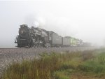 765 rolls west through the thick fog on former Wabash rails
