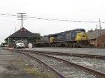 CSX 18 roars east past the North Baltimore depot with Q380