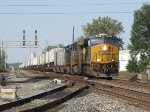 CSX 851 speeds east through Deshler leading Q010-29