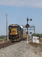 CSX 7573 rolls through the plant at South Deshler leading Q231