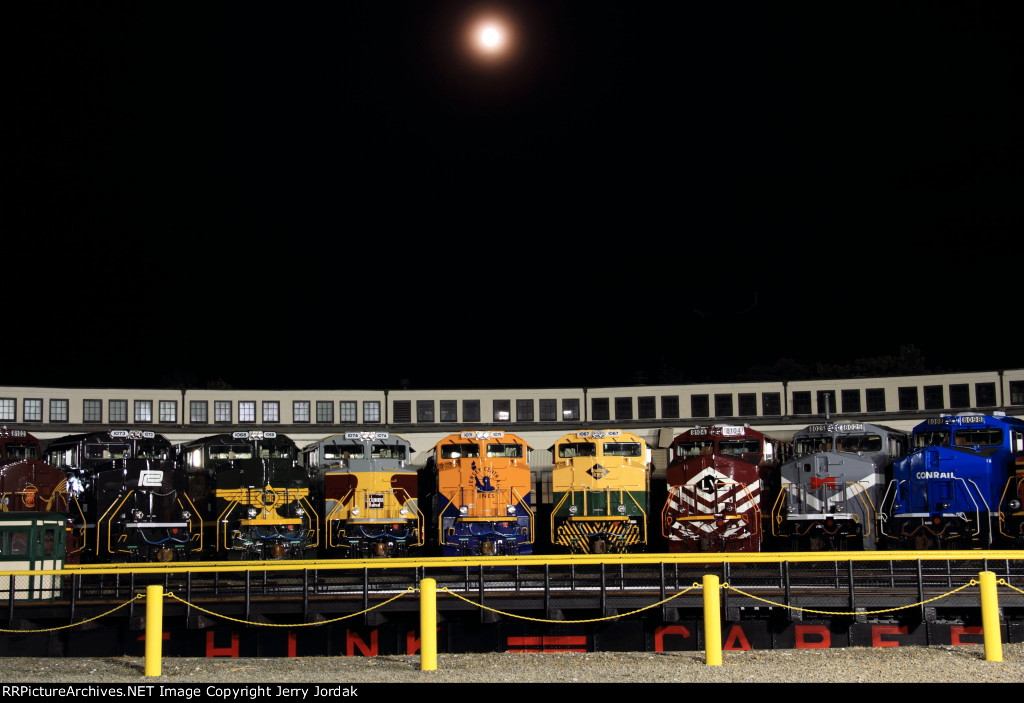 Most of the Conrail family under the full moon