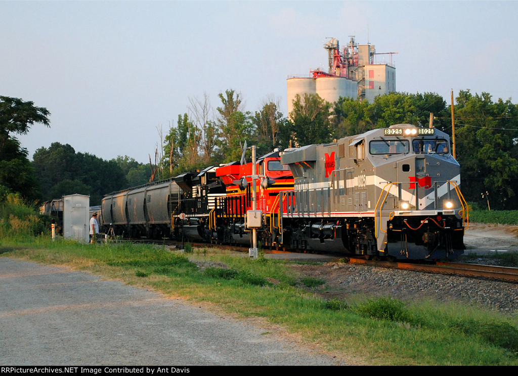 NS 8025 backing into the feed mill