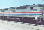 The third of three SDP40Fs on #3, the westbound Southwest Limited