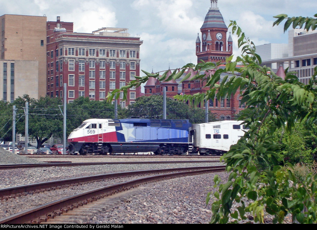 Trinity Rail Express  leaving Dallas Union Station