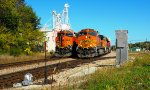 BNSF Westbounds waiting at west end of the yard in Monett MO.