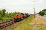 BNSF 6062 leads a crude oil train sb.