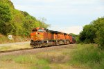 BNSF 5305 leads a empty crude oil train Nb.