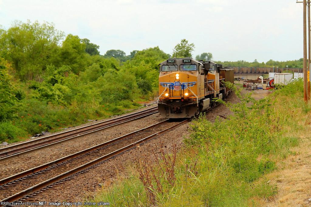 UP 5927 leads a loaded coal sb.