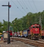 Alco, Cabooses with the old water tower and semaphore signal at the Whippany Rail Museum.