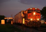 An Eastbound Manifest Hits the Setting Sun After a Light Storm