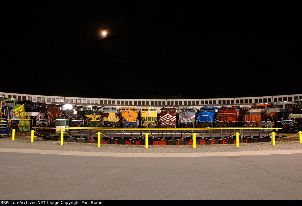 Twenty NS Heritage Units staged at the roundhouse of the North Carolina Transportation Museum