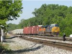 Winding its way through Lamar, Q326-08 heads for the Odd Side to yard its train