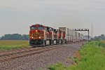 BNSF 5212 leads a Wb stack train past the atsf lights.