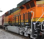 BNSF 6960 brings up 3rd unit on this eb grain train.