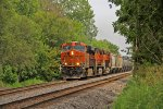 BNSF 6786 leads a Wb freight thur Dallas city IL.
