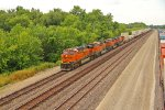 BNSF 7289 Leads a EB stack train into fort Madison Iowa.