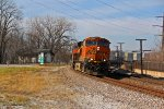 BNSF 7904 Heads Up a stack train leaning hard into the curve.