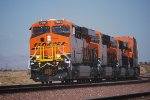 With The Sun Reflecting off Her Very Very Brand New GE/BNSF Swoosh Logo Paint BNSF 7061 with Her Sisters BNSF 7060, BNSF 7058, and BNSF 7059 roll westward into the BNSF Barstow Depot for a Crewchange and head into LA!!!.