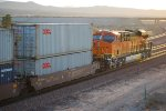 BNSF 7044 pushes a Stack Train west out of BNSF Barstow as a Rear DPU.